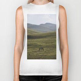 Lone Horse in the Hills of Mongolia Biker Tank