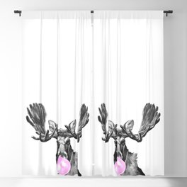 Bubble Gum Moose in Black and White Blackout Curtain
