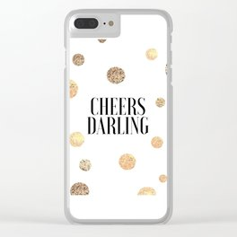 CHEERS DARLING GIFT, Wedding Quote,Anniversary Print,Gold Confetti,Cheers Sign,Champagne Quote,Celeb Clear iPhone Case