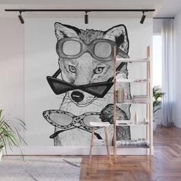 Playful Fox in Retro glasses Wall Mural