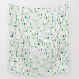 Forest of Christmas trees on a light gray background. Minimalism is stylish. Small pattern. Wall Tapestry