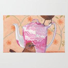 wrens on teapot Rug