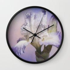White Bearded Iris Wall Clock