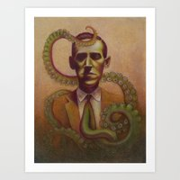 lovecraft Art Prints featuring H.P. Lovecraft by Henri Scribner