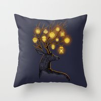 lantern Throw Pillows featuring Dream Guide by Freeminds
