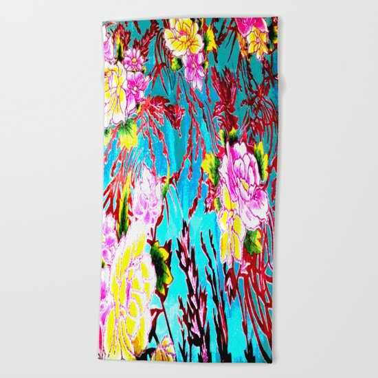 Coral Roses Beach Towel