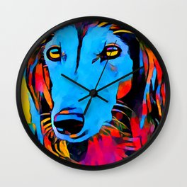 Saluki Portrait Wall Clock