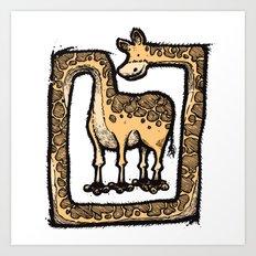 Square Giraffe Art Print