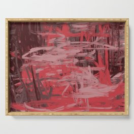 Muted Red & Pink Abstract Serving Tray