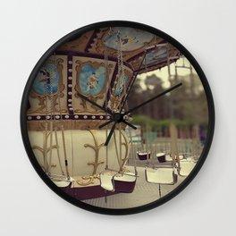Carousel in the amusement park Wall Clock