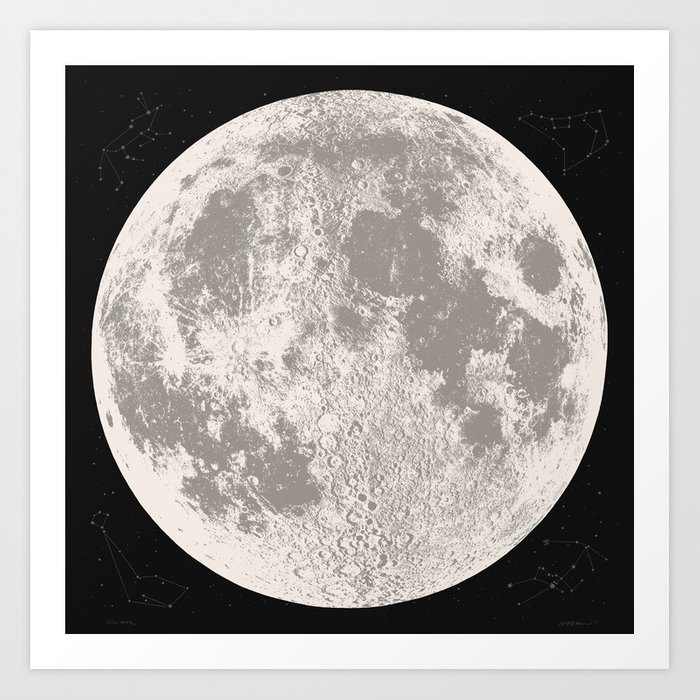 Full Moon Print Natural By Christy Nyboer Art
