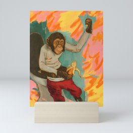 """Primitive Neurological Circuitry (Chimp on Toilet)"" Mini Art Print"