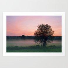 Pink countryside sunset Art Print