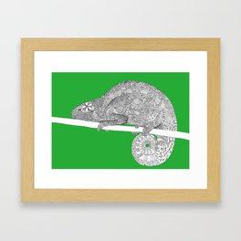 Green-Chameleon Framed Art Print