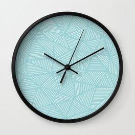 Powder Blue Triangles Wall Clock