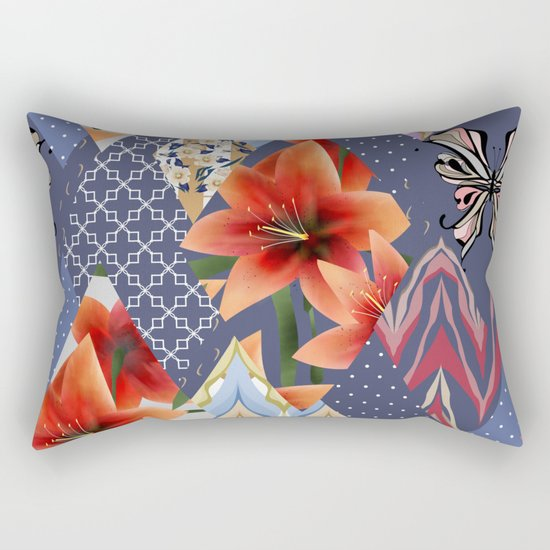 "A series of ""Favorite patchwork"". Lilies with blue fabrics. Rectangular Pillow"