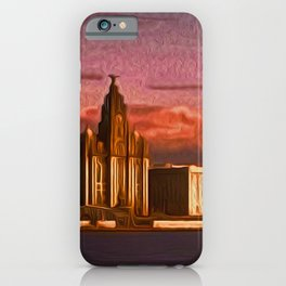 Liverpool Waterfront at Sunset (Digital Art) iPhone Case