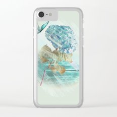 Hydrangea and butterfly Clear iPhone Case