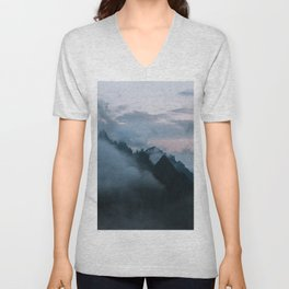 Dolomite Mountains Sunset covered in Clouds - Landscape Photography Unisex V-Neck