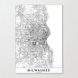 Milwaukee White Map Canvas Print