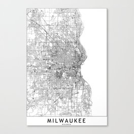 Milwaukee White Map Canvas Print