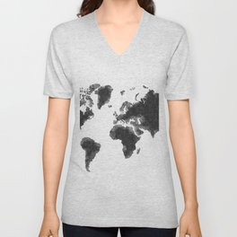 World Map Black Sketch, Map Of The World, Wall Art Poster, Wall Decal, Earth Atlas, Geography Map Unisex V-Neck