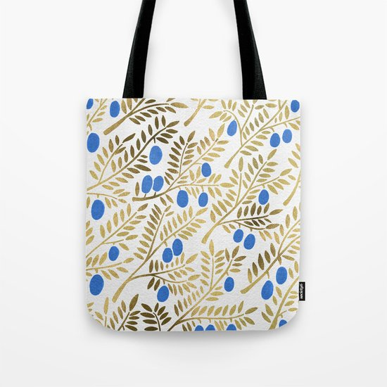 Olive Branches – Gold & Blue Tote Bag