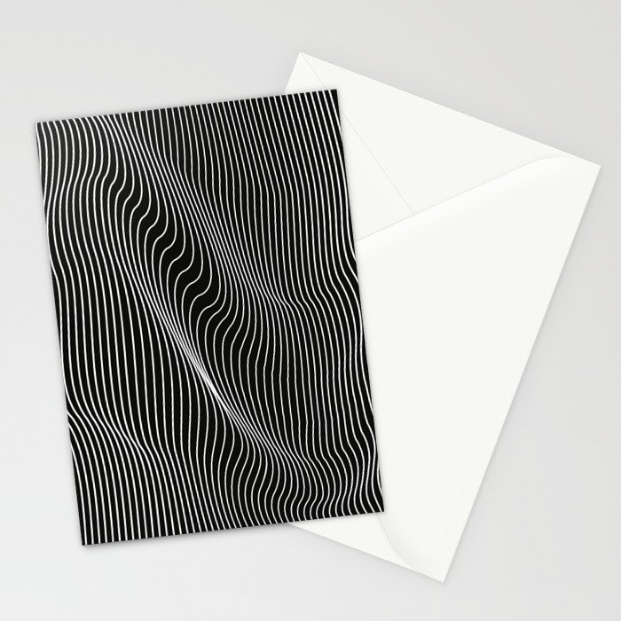 Minimal curves black Stationery Cards