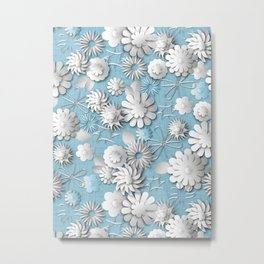 Paper Cut Flowers (Cornflower Blue) Metal Print