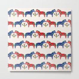 Dala Horse Folk Art Pattern : Scandinavian Dalahast W Stripe Metal Print