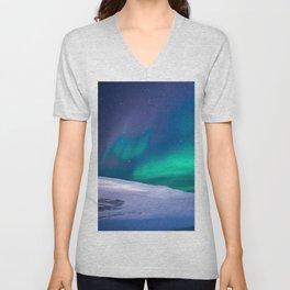 winter sky aurora Unisex V-Neck