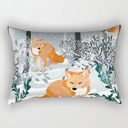 Fox Snow Walk Rectangular Pillow
