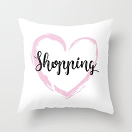 Crazy for shopping Throw Pillow