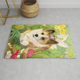 The Faerie and the Welsh Corgi Rug