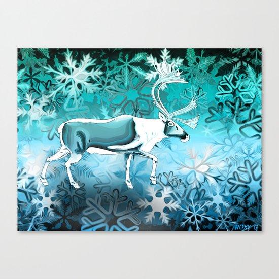 Blue Reindeer Canvas Print