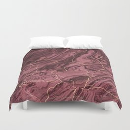 Cracked brown red marble paint Duvet Cover