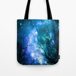 Black Trees Blue Turquoise Teal Space Tote Bag