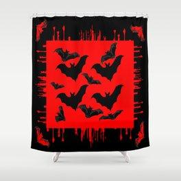 RED HALLOWEEN BATS ON BLEEDING RED ART DESIGN Shower Curtain