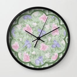 Flower Play Antique Pink Lavender on Green Plaid Wall Clock