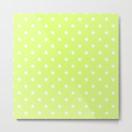 Light Lime Green Background With White Stars Pattern Metal Print