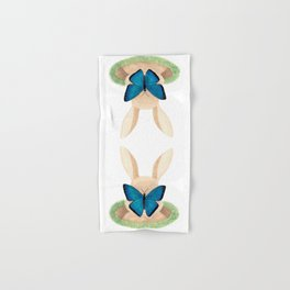Butterfly resting on a bunny's nose Hand & Bath Towel