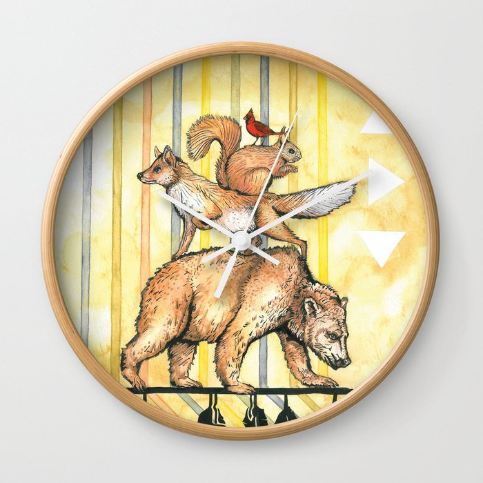 AZTEC Animals with Arrow Wall Clock by middlebrother | Society6