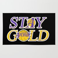 lakers Area & Throw Rugs featuring Stay Gold by Ant Atomic