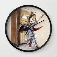 superhero Wall Clocks featuring Serial Superhero by Allan McInnes