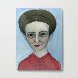 """Simone de Beauvoir Literary Portrait,  """"Simone au jour le jour"""" Metal Print"""