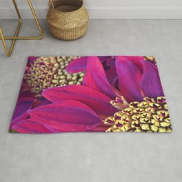 Exotic Bright Pink Red Flowers With Gold Centers Rug