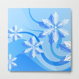 Winter Flower Blue Christmas Metal Print