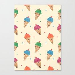 Fun Ice Cream Pattern Canvas Print