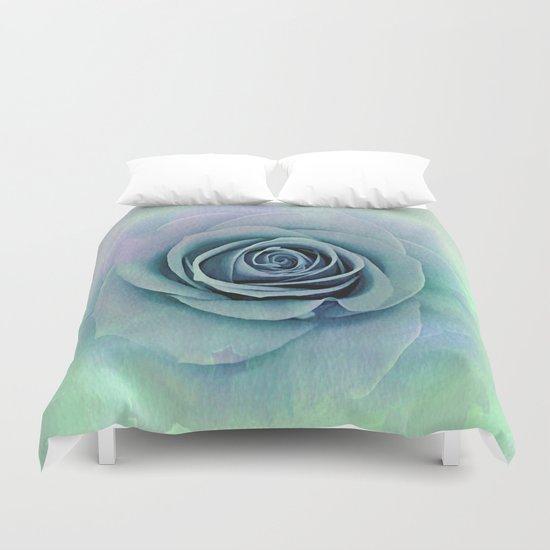 Tender Love Blue -Lavender Rose Abstract Duvet Cover