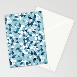 Indigo Blue Watercolor Triangles Pattern Stationery Cards